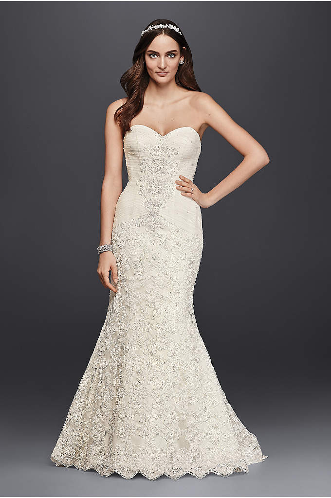 Oleg Cassini Beaded Lace Trumpet Wedding Dress - Feminine and elegant, this strapless sweetheart trumpet gown