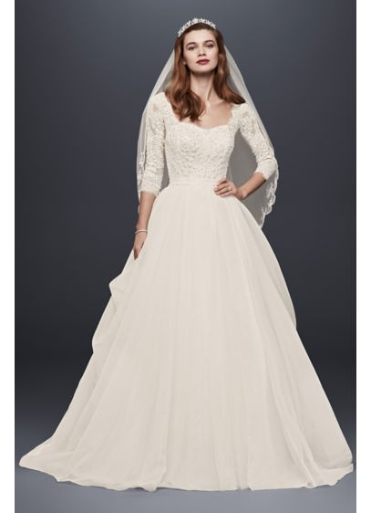 Oleg cassini organza wedding dress with 3 4 sleeve david for 3 4 sleeve ball gown wedding dress