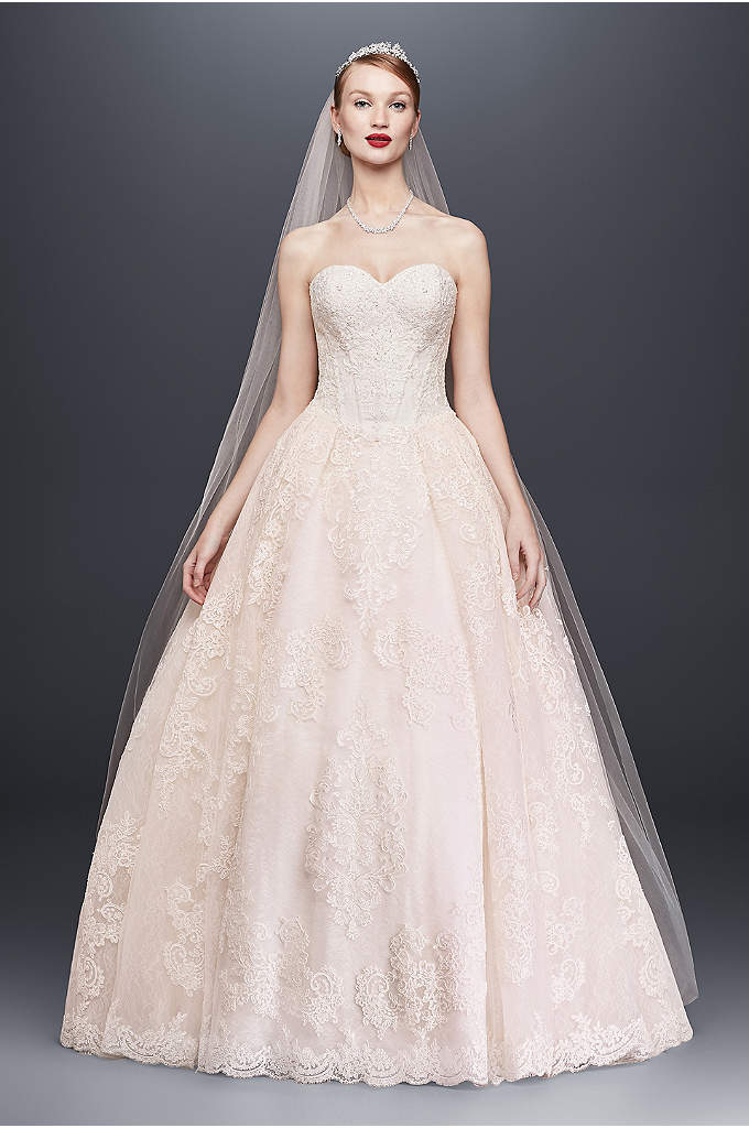 Oleg Cassini Wedding Ball Gown With Beaded Lace
