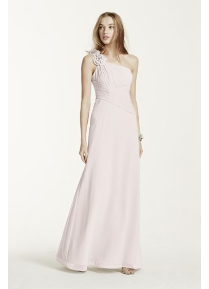 Long Grey Soft & Flowy David's Bridal Bridesmaid Dress