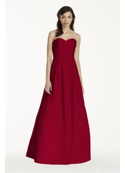 Long Red Structured David's Bridal Bridesmaid Dress