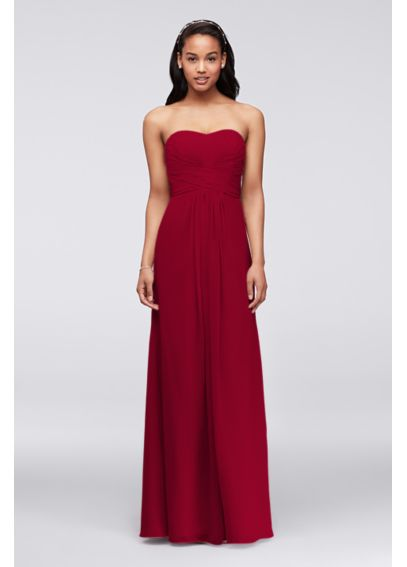 Extra Length Strapless Chiffon Dress with Pleating 4XLF15555