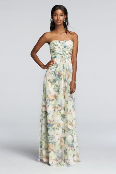 Strapless Chiffon Floral Print Dress with Pleating - Davids Bridal