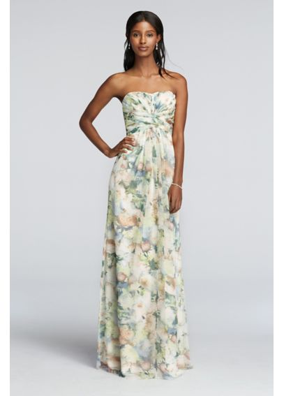 Strapless Chiffon Floral Print Dress with Pleating 4XLF15555P
