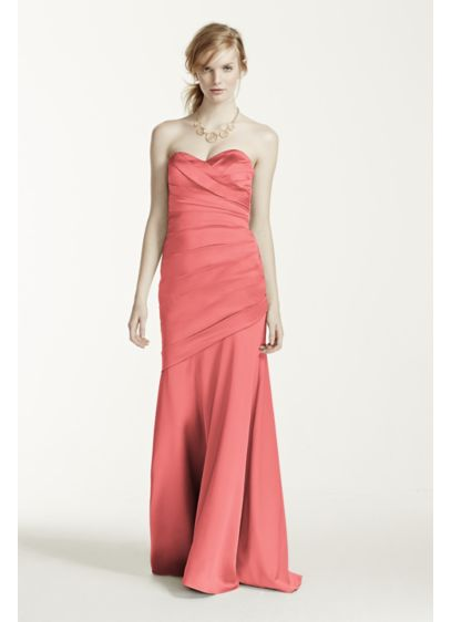 Long Orange Structured David's Bridal Bridesmaid Dress