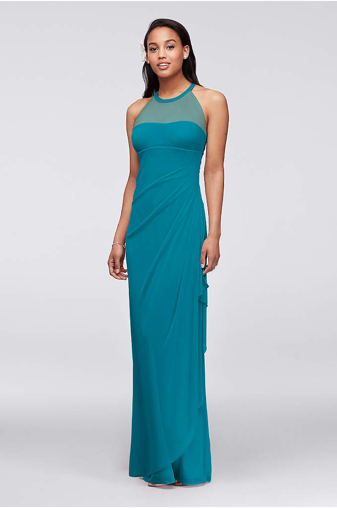 Extra Length Mesh Dress with Illusion Neckline - Ultra-feminine and unique this bridesmaid dress has unparalleled