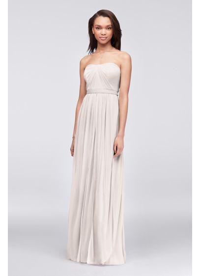 Long Blue Soft & Flowy David's Bridal Bridesmaid Dress
