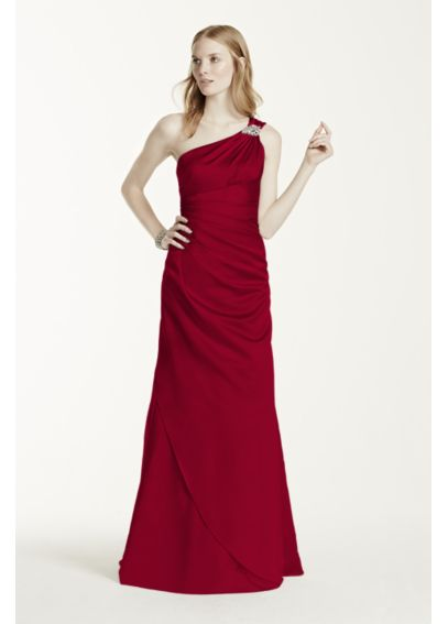 Extra Length One Shoulder Satin Dress 4XLF15940