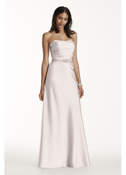 Extra Long Strapless Satin Dress with Crystal Belt 4XLF17034