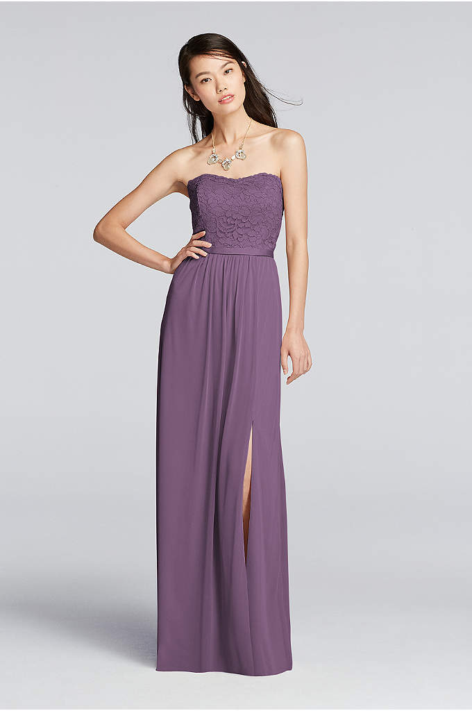 Extra Length Lace and Mesh Long Strapless Dress - Dance the night away in this lovely lace