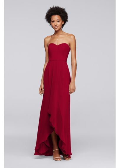 Strapless Bridesmaid Dress with High-Low Hem 4XLF19262