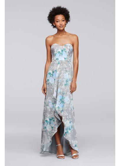 High Low Grey Soft & Flowy David's Bridal Bridesmaid Dress