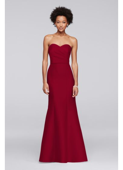 Sweetheart mikado strapless long bridesmaid dress david for Long strapless wedding dresses