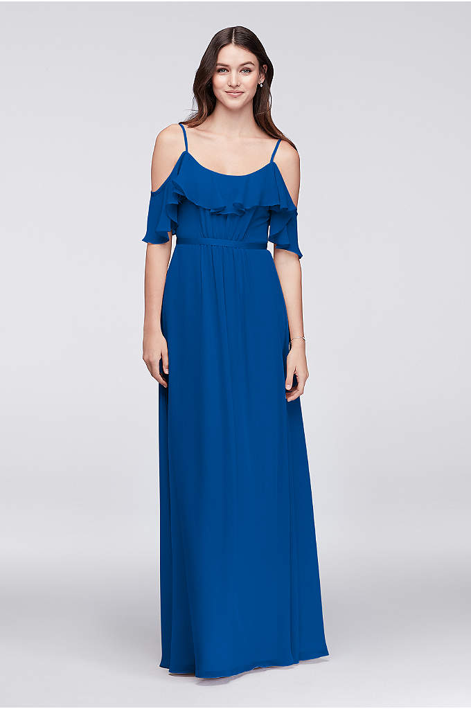 Cold-Shoulder Long Bridesmaid Dress - This crinkle chiffon bridesmaid deserves a special place