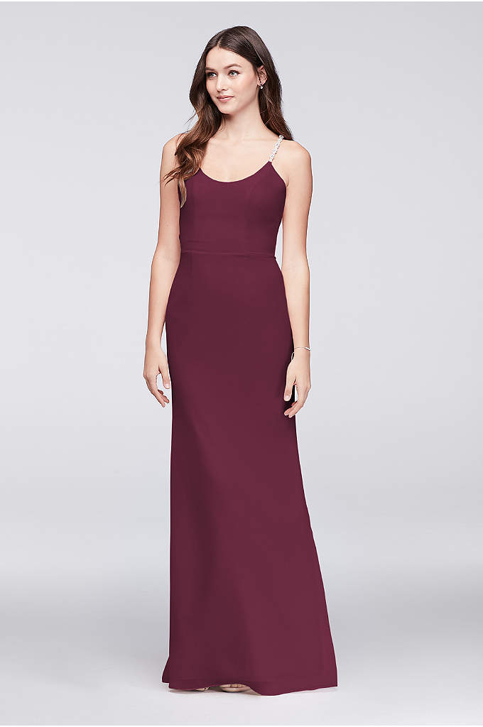 Chiffon Sheath Bridesmaid Dress with Beaded Straps - A picture of beautiful simplicity, this long, slim