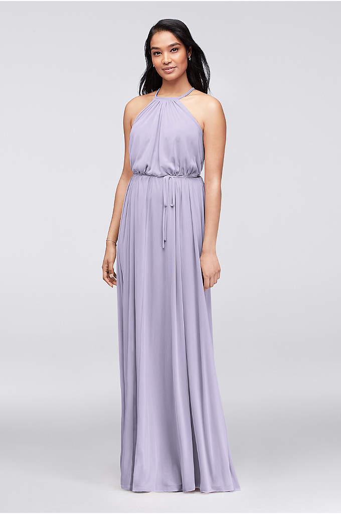 Halter Bridesmaid Dress with Slim Sash