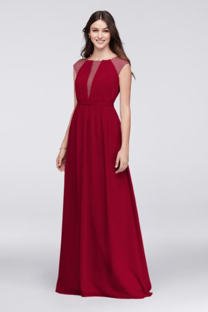 V-Neck Bridesmaid Dress with Chantilly Lace Inset | David's Bridal
