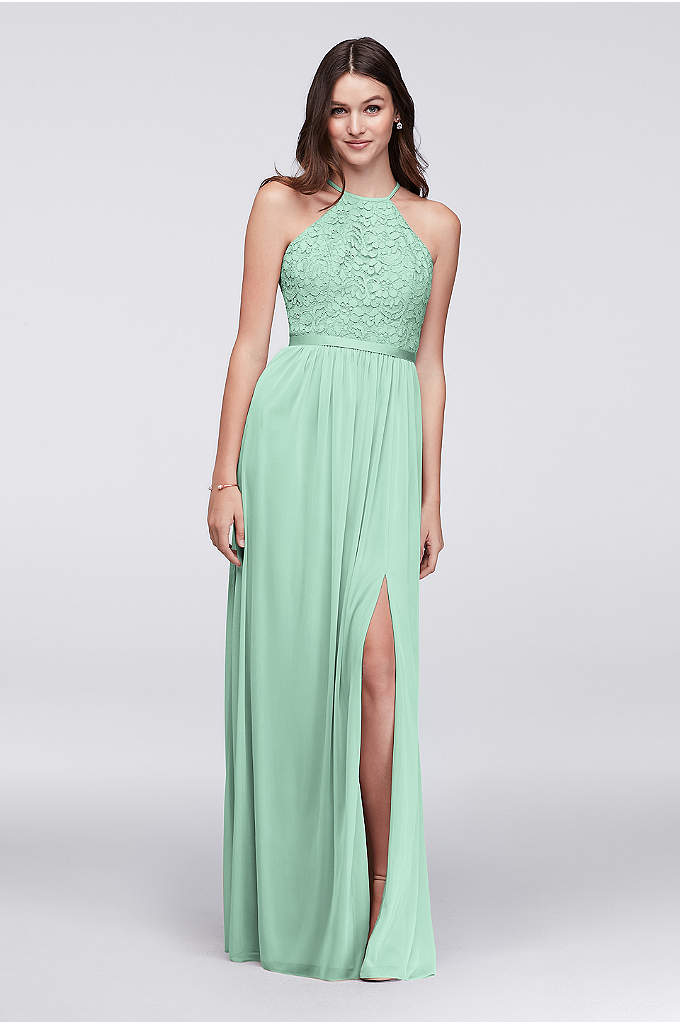 Open-Back Bridesmaid Dress with Mesh Skirt - A high-neck lace halter bodice, paired with an