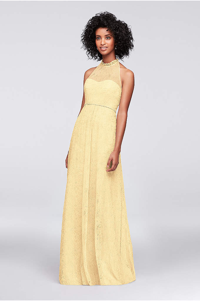 A-Line Allover Chantilly Lace Bridesmaid Dress - A beautifully romantic dress for your bridesmaids, this