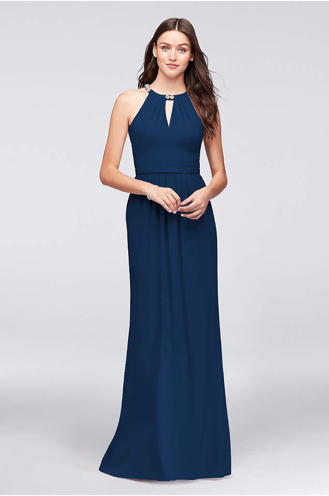 Beaded Neckline Crepe Halter Bridesmaid Dress