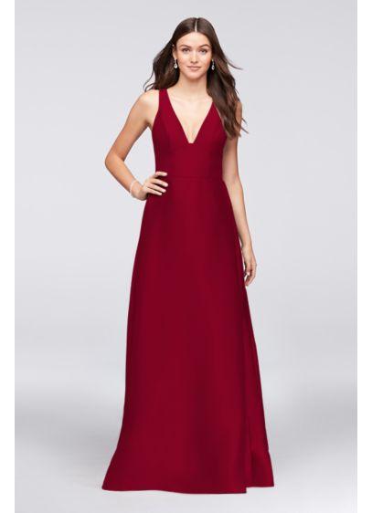 Long Pink Structured David's Bridal Bridesmaid Dress