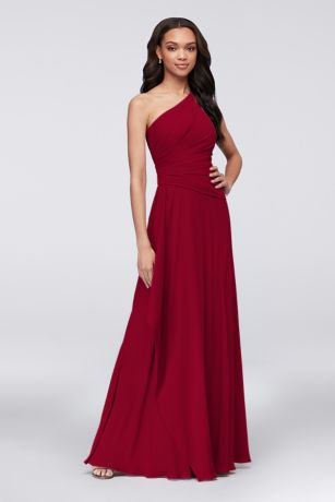 Georgette One-Shoulder Cascade Bridesmaid Dress - A breathtaking side cascade flows from the asymmetrical