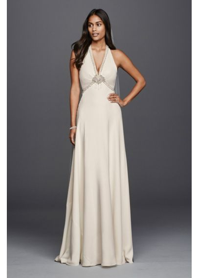 Sheath Wedding Dress with Halter Neckline 4XLJP341611