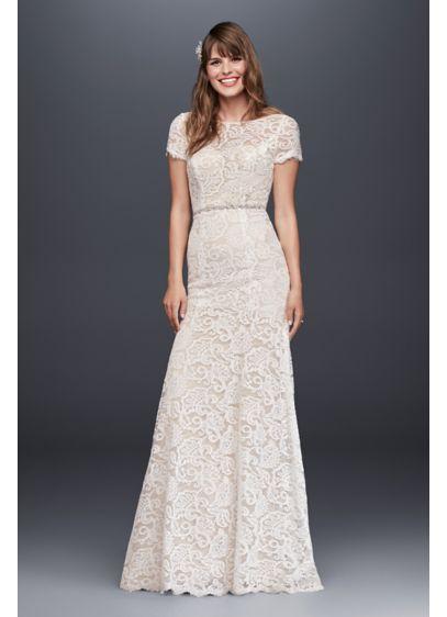 Illusion short sleeve lace open back wedding dress david for Short lace wedding dress with long sleeves
