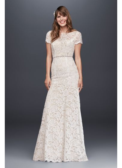 Illusion Short Sleeve Lace Open Back Wedding Dress 4XLKP3780 Long Sheath