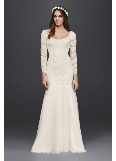 Long Sleeve Lace Mermaid Wedding Dress 4XLKP3818