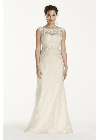 Melissa Sweet Cap Sleeve Lace V Back Wedding Dress