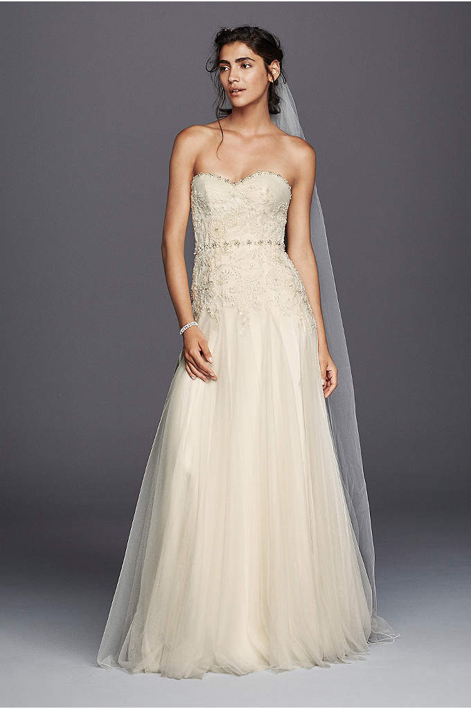 Melissa Sweet Beaded Tulle Sheath Wedding Dress - Timeless and elegant, this strapless sweetheart sheath will