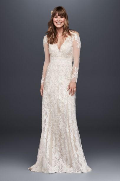 Melissa Sweet Linear Lace Sheath Wedding Dress | David's Bridal