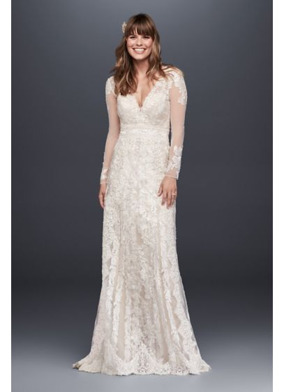 Melissa sweet linear lace sheath wedding dress david 39 s for Long sleeve lace wedding dresses for sale
