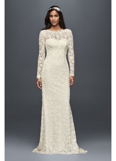 Long sleeve guipure lace wedding dress david 39 s bridal for Long sleeve lace wedding dresses