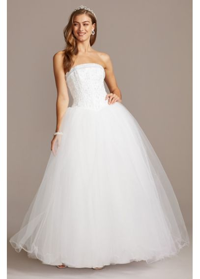 Extra Length Satin Beaded Bodice Wedding Dress 4XLNT8017