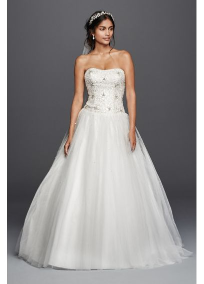 Jewel No Train Beaded Tulle Wedding Dress 4XLNTWG3798