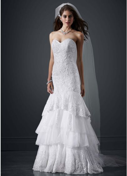 Lace mermaid sweetheart neckline wedding dress david 39 s for Mermaid wedding dresses under 500