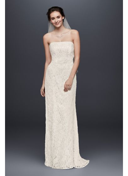 Extra length beaded lace gown with empire waist davids for Davids bridal beach wedding dresses