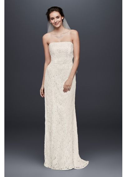 Extra Length Beaded Lace Gown with Empire Waist 4XLS8551