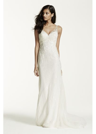 Extra Length Lace Sheath Gown with V Neckline 4XLSWG675