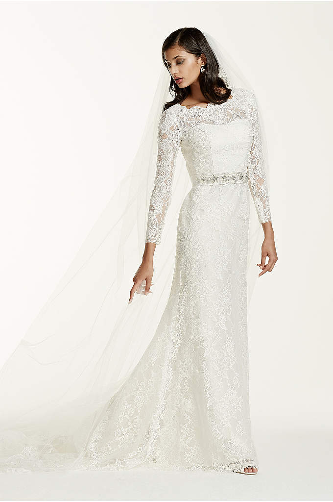 Extra Length Lace Long Sleeve Beaded Sheath Gown - This long sleeve, lace sheath radiates elegance, class