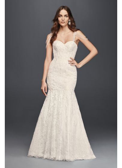 Allover lace mermaid dress with swag straps david 39 s bridal for Mermaid wedding dresses under 500
