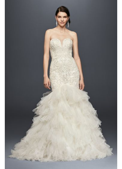 Embellished mermaid wedding dress with tulle skirt david for Mermaid wedding dresses under 500