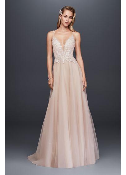 Sheer beaded bodice a line organza wedding dress davids bridal long a line glamorous wedding dress galina signature junglespirit Gallery