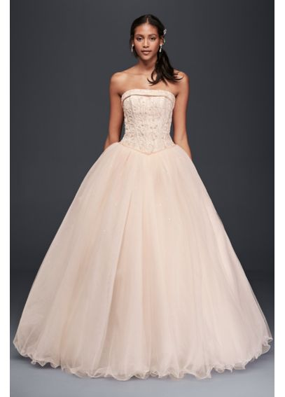 Extra Length Strapless Wedding Dress with Beading 4XLT8017
