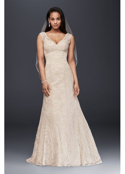 Lace Trumpet Wedding Dress with Deep V Neckline 4XLT9612