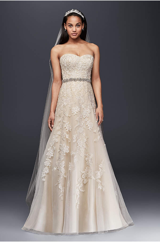 Strapless Tulle A-line Wedding Dress with Lace - This elegant sweetheart A-line with lace appliques is