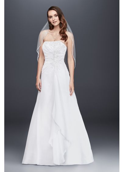 Strapless Chiffon Wedding Dress with Side Drape 4XLV9409