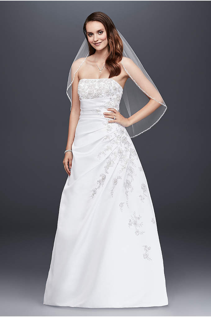 Extra Length Corset Back Wedding Dress with Drape - A-line side drape strapless gown with beaded lace